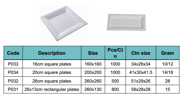 Eco-friendly biodegradable disposable sugarcane square plate