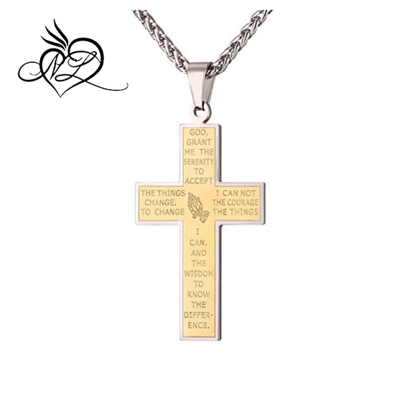 Gold Necklace Men Thin Stainless Steel Chain 18K Gold Plated Bible Verse Praying Hands Cross Pendant