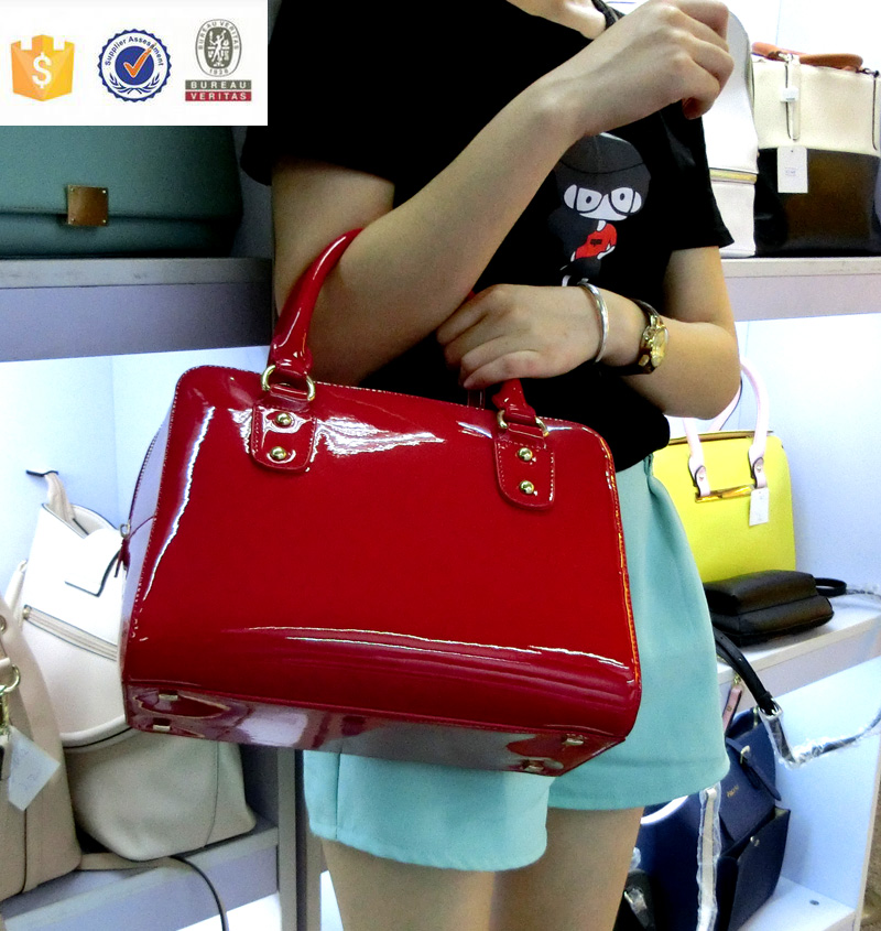 Blank Patent leather Women tote bag with handle foot stud shopping bag oem odm guangzhou china