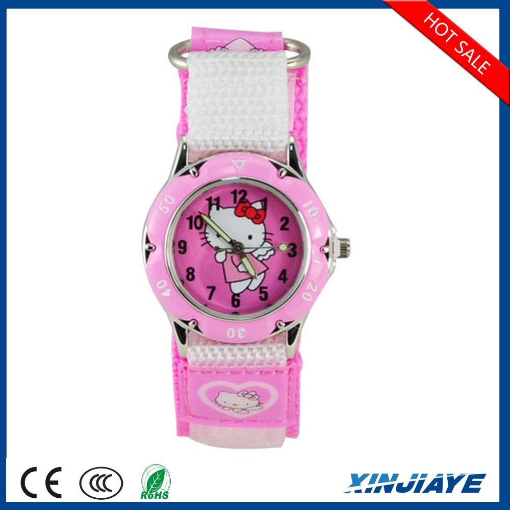 Fashionable nylon strap cute cartoon hello kitty cat children watch profeshional gifts for girls students quartz wristwatch