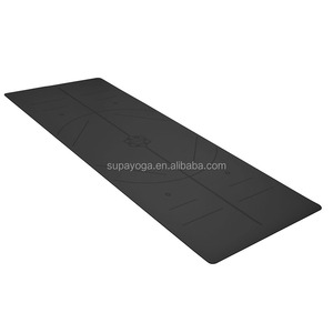 Eco friendly natural rubber PU top black yoga mat