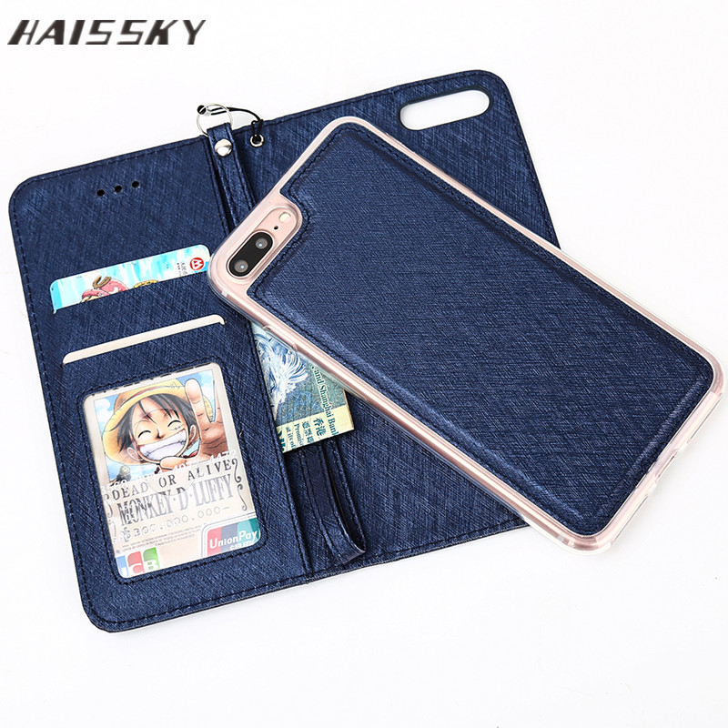 HAISSKY Leather Flip Case Detachable Phone <strong>Cover</strong> with Card Holder for Iphone 8