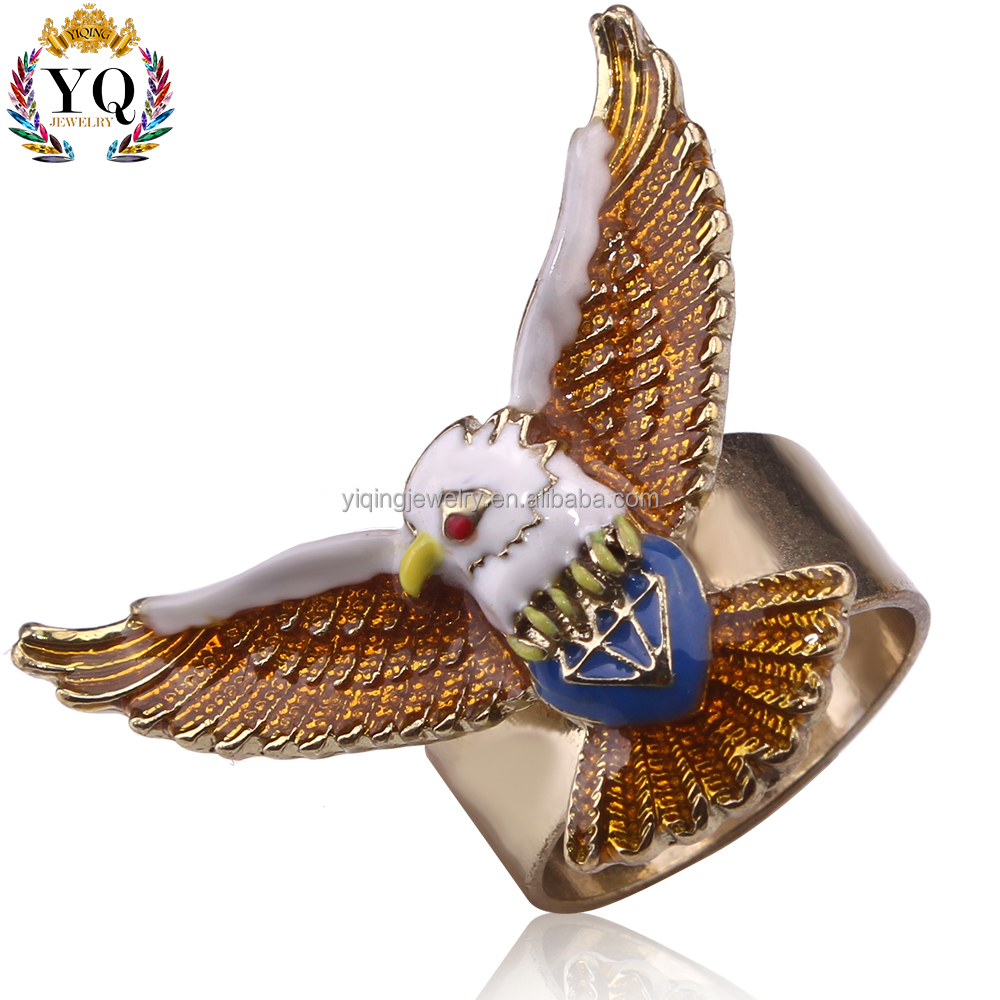 RYQ-00201 cheap wholesale simple enamel bronze animal shape designs eagle ring for gift