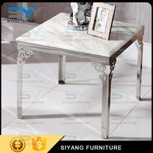 2017 new design 4 legs stainless steel frame black and white marble top side table