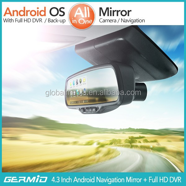 5 Inch Mirror GPS Navigation Garmin+Full HD DVR+Bluetooth+8GB+Av-in