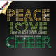 Sparkle bling iron ons peace love cheer custom cheerleading uniforms