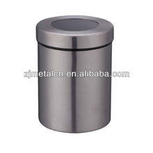 stainless steel tea sugar coffee canister with a window on lid