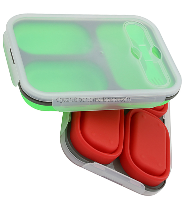 Microwave safe Collapsible silicon 3 compartment lunch box