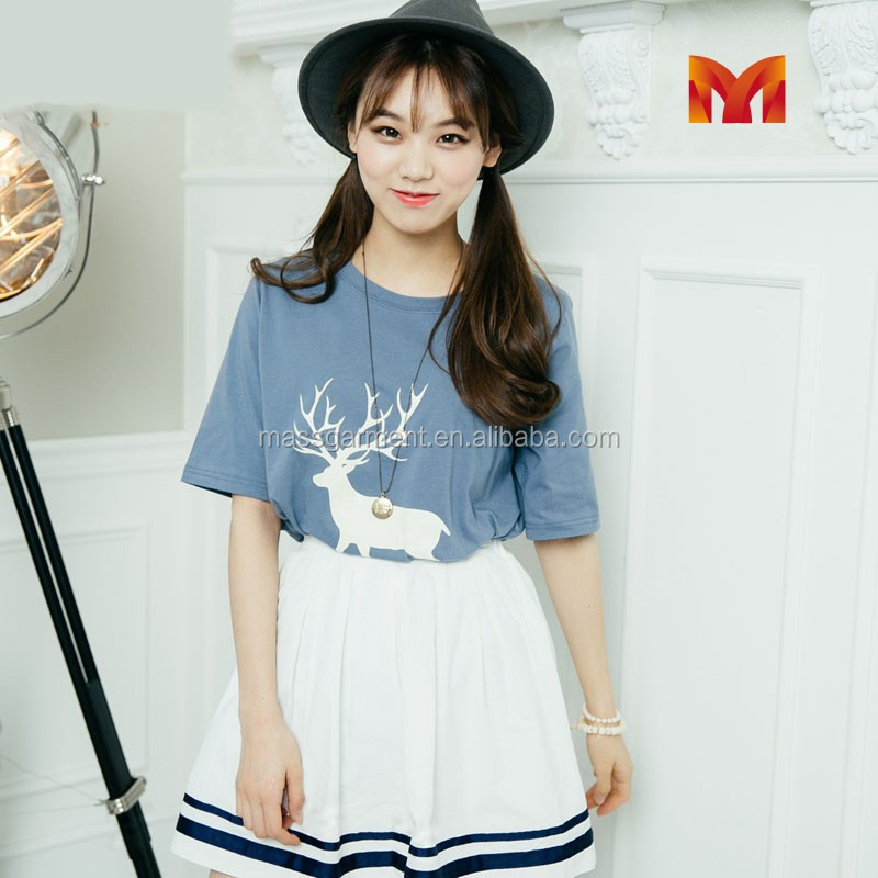 Korean fashion 2015 short sleeve deer printed women casual t shirt