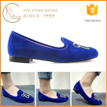 Royal blue ladies shoes wholesale women loafers,new girl oem suede embroidery loafer shoes