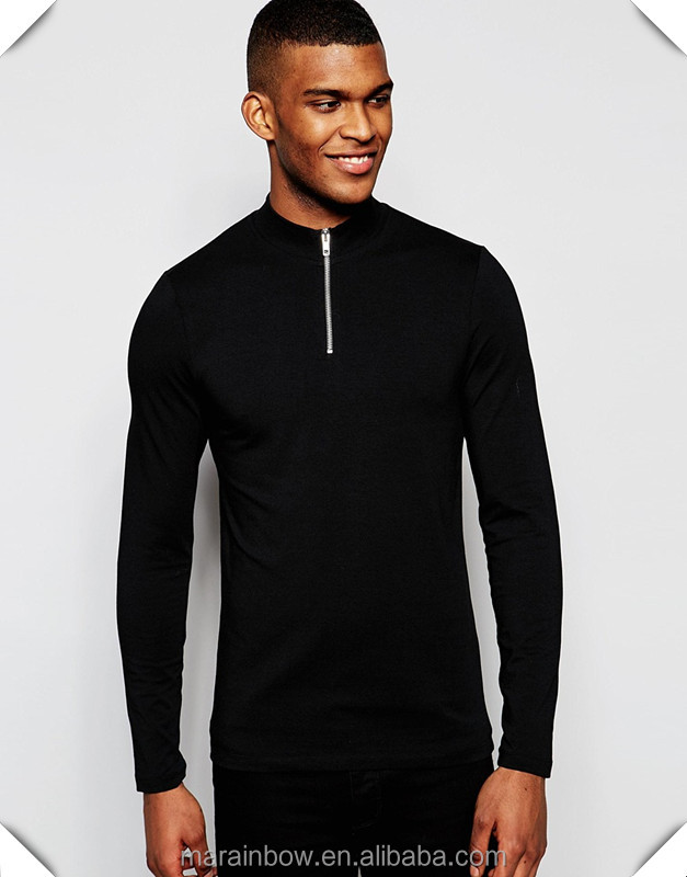 Black Plain Mens Long Sleeve T-Shirt Slim Fit 1/4 Zipper Tops Muscle Lightweight Jacket Quarter Zipper T Shirts