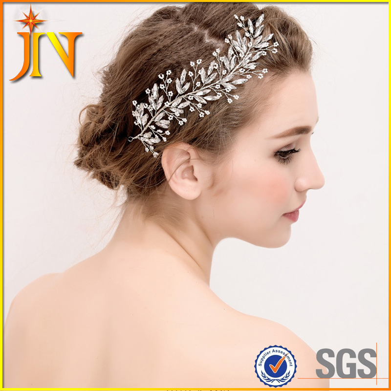 BH0041 JN Handmade Bridesmaid Hair Band Pearl Hair Vine Wedding Hair Piece Head Tiara Jewelry Bridal carnival Dance Headpieces