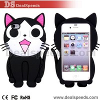 Chinese Supplier 3D Cat Cartoon Design Back Cover Silicone Case for iPhone SE/5S/5