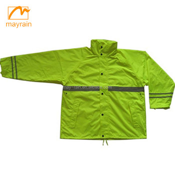 adult fashion polyester rainsuit rain coat with hood and pants