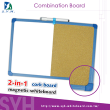 Wood frame half white board yellow cork memo board for sale on
