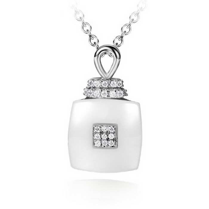 SJ Wholesale Fashion Accessory SJLB-0295 Promotional Brass Rhodium Plated Cubic Zircon Ceramic Pendant Necklace with Rolo Chain