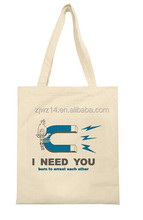 eco recyclable natural color 100% cotton canvas tote bags