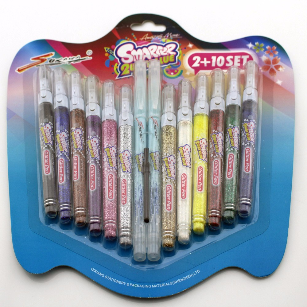 Amazon hot selling product glitter glue pen set .for DIY ,creating production