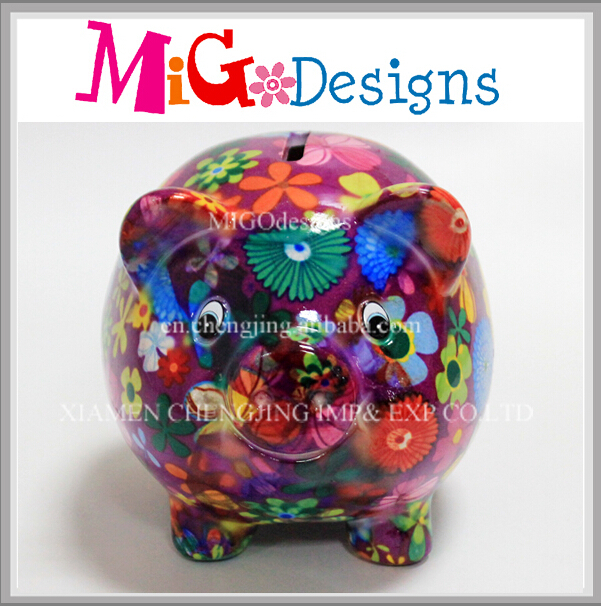 Pig Shaped Piggy Bank Custom Made Ceramic Coin Bank