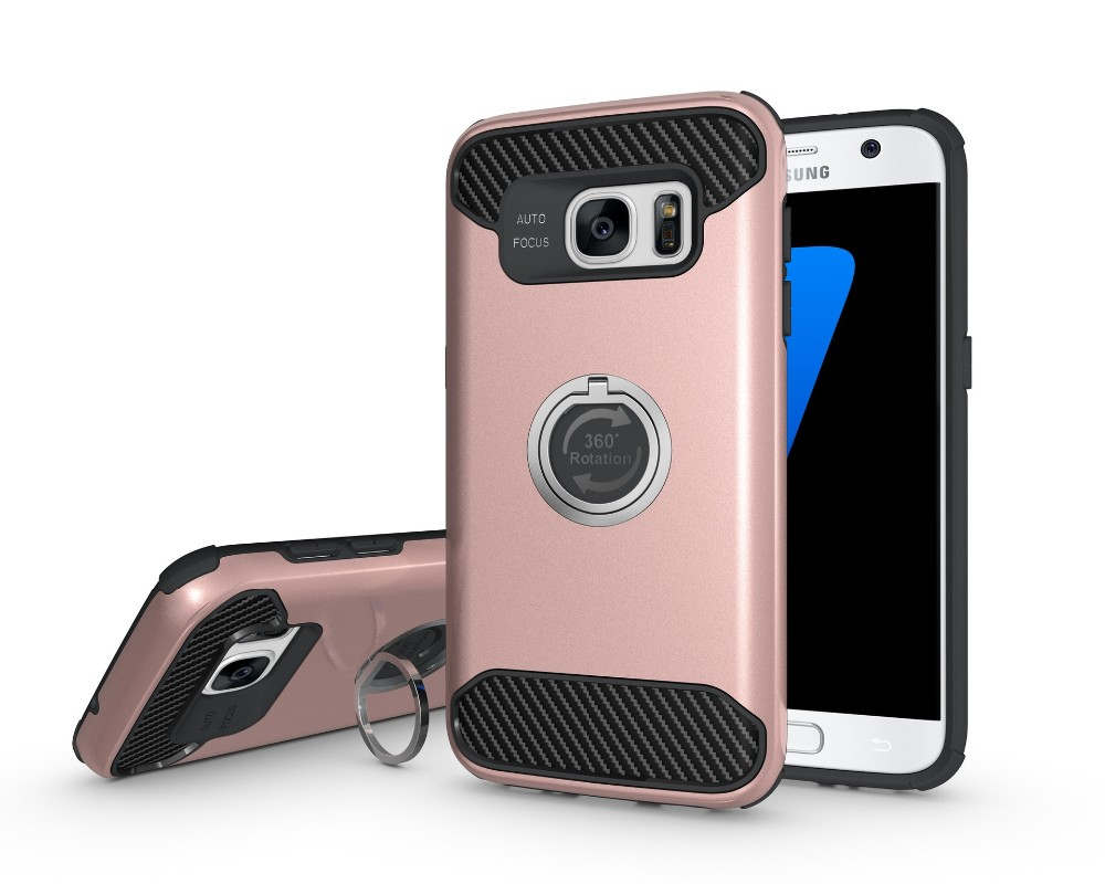 Wholesale price TPU+PC Heavy Duty Cover Ring Holder Phone Case for Samsung S7 S7 Edge Shock proof Armor Case