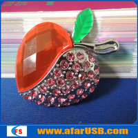 Jewelry Love Heart Shape Usb Flash Drive 4GB ,Crystal Pen Drive Heart With Necklace For Gift