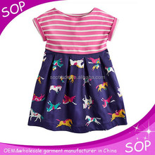 2015 new casual high quality cotton round neck baby frock designs for girl china supplier