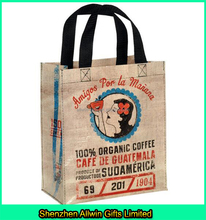 Promotional Design Coffee Color Custom Logo Jute Shopping Tote Bag