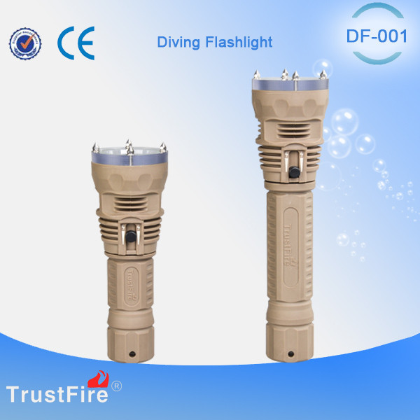 Diving accessories TrustFire DF001diving powerful led flashlight, Rubber cover diving light torch,Led under water 100meter torch