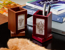 Multi-purpose Caddy wood wooden picture frame pen holder with clock stand