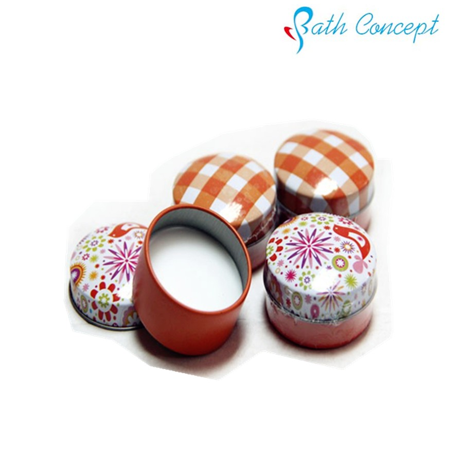 Round metal cute lip balm in tin box