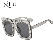 2018 XIU Women Crystal Sun glasses Square Oversized Sun Glasses with Polarized lens and frame in bling diamond