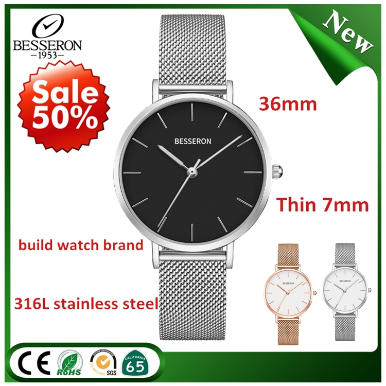 brand logo mature japan quartz movement wrist watch d w new style mesh strap ladies stainless steel waterproof timepieces women