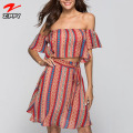 Wholesale Women Boho Print Two Piece Set Casual Dress