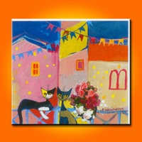 BC13-7373 High quality children's room cartoon painting decorative painting cute kitten