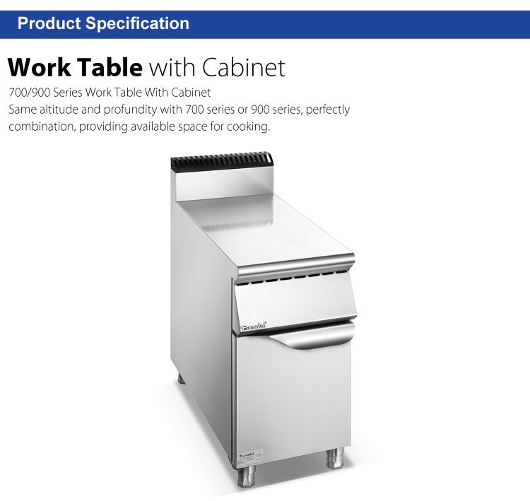 Same Altitude with 900 Series Kitchen Stainless Steel Work Table with Under Cabinet