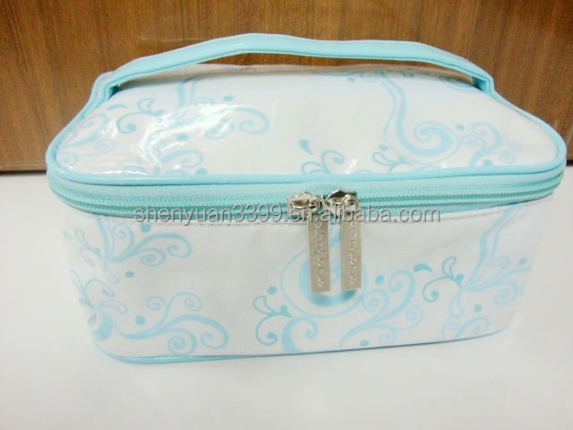 2016 Alibaba express china PVC Printed Beautiful women makeup bag Vanity Cosmetic Dressing Box taobao ladies bag