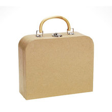 Kraft Cardboard Creative Paper Briefcase With Plactic Handle Customized Folding Luggage Carrier Convenient