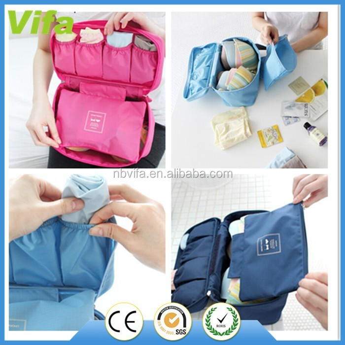 Women Girl Travel Cosmetic Makeup Toiletry Wash Storage Case Underwear Bra Lingerie Bag Organizer