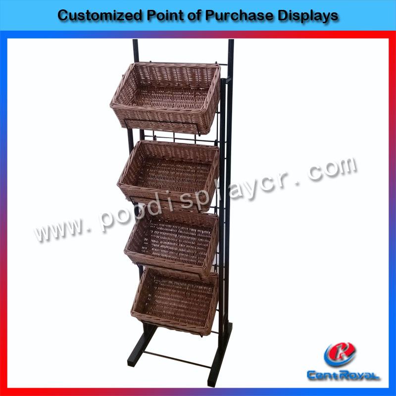 Custom metal and wicker material food display rack