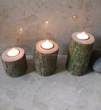 handmade 3 Wooden christmas candle holder for decoration