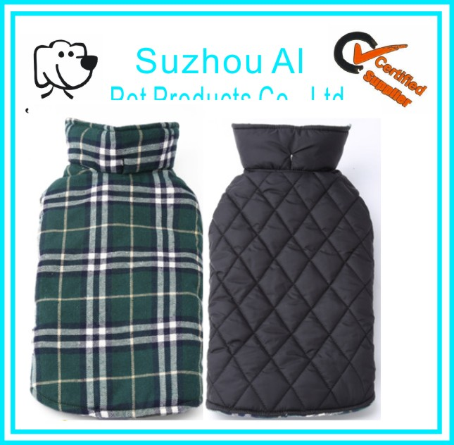 Reversible Cozy Plaid Dog Vest Winter Coat Warm Dog Jackets