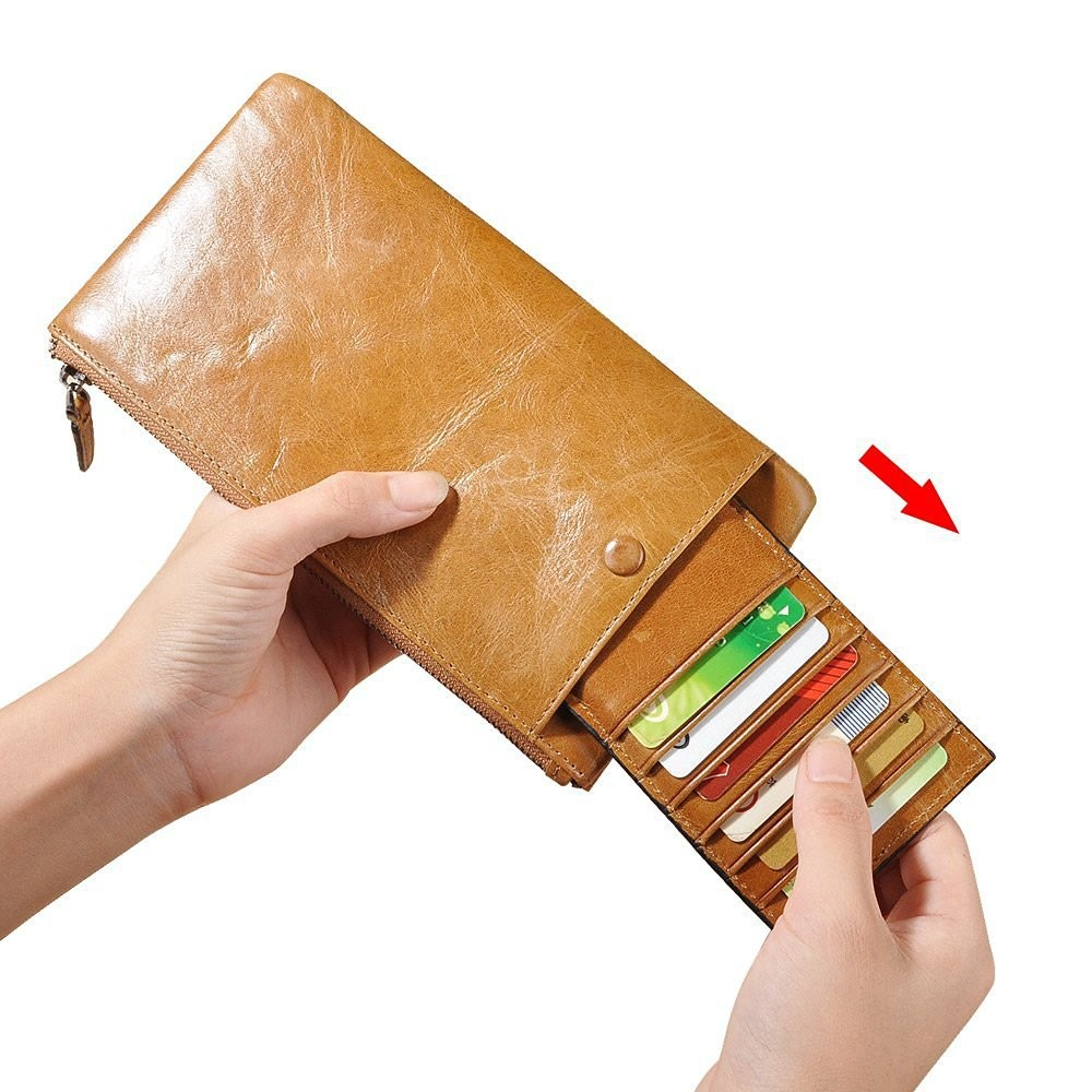 Elegant Hot Multi-Function Oil Wax Leather Wallet