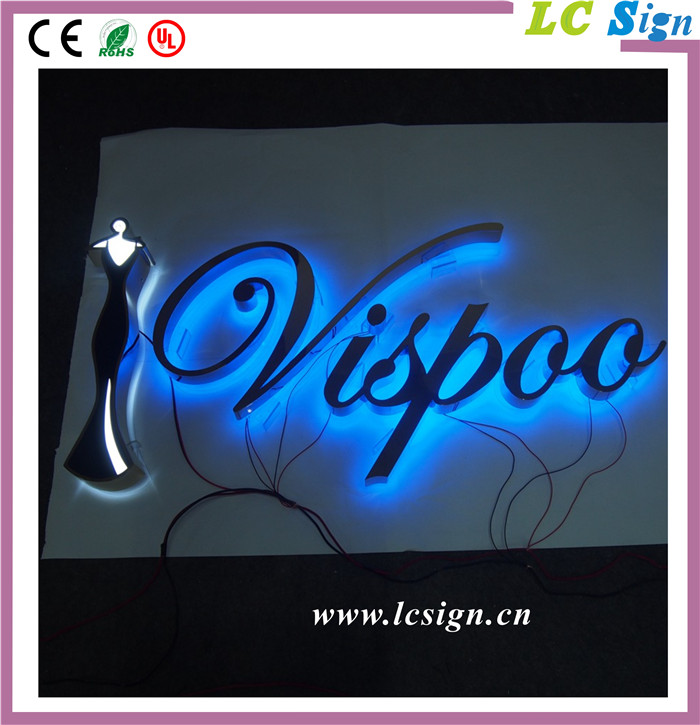 Mirror Polished Stainless Steel Backlit 3D LED Metal Led Alphabet Letter Logo Sign