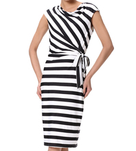 2017 Black & white stripes ladies office wear dress