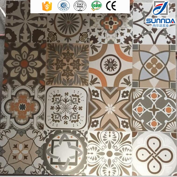600x600mm traditional design rustic non slip vintage floor tiles with flower deisgn