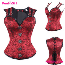2016 New Gothic Steampunk Red Jacquard Overbust Women Corset