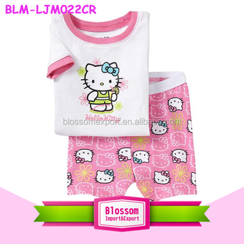 2016 Newest fashion baby hello kitty pajamas clothing casual cotton cartoon lovely pajamas wholesale girl new born outfit sets