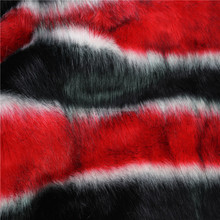Smooth black&white&red long pile faux fur for heavy cappotto