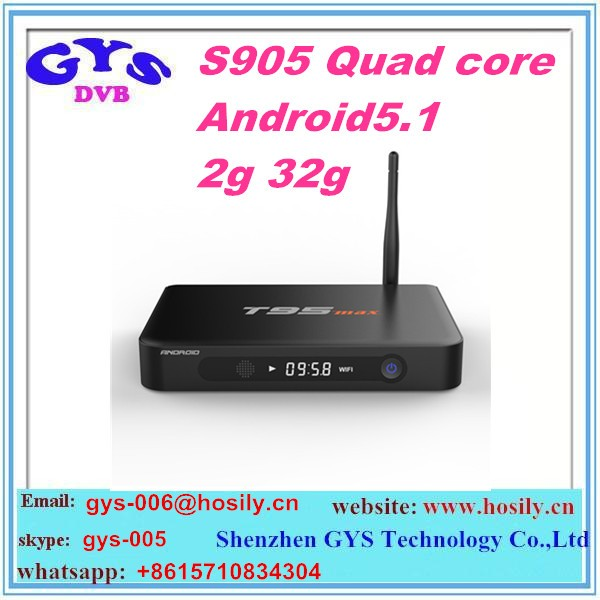 New arrival 2GB RAM 32GB ROM T95 max Full HD 4K Amlogic S905 quad core T95 updated metal android 5.1 tv box