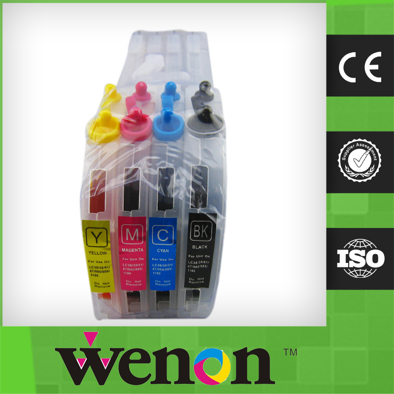 new 4 color refillable ink cartridge for Brother LC38/39/61/67/980/985 inkjet printer